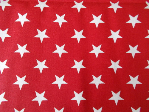 "LARGE WHITE STARS ON RED 108"" WIDE BACKING - *3 YARD CUT* - FOSQ-120-PC-C Red"