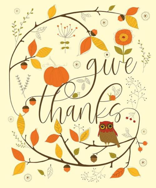 "GIVE THANKS ""OWL"" PANEL - 36"" X 43"" WOF"" - P9527-Cream"