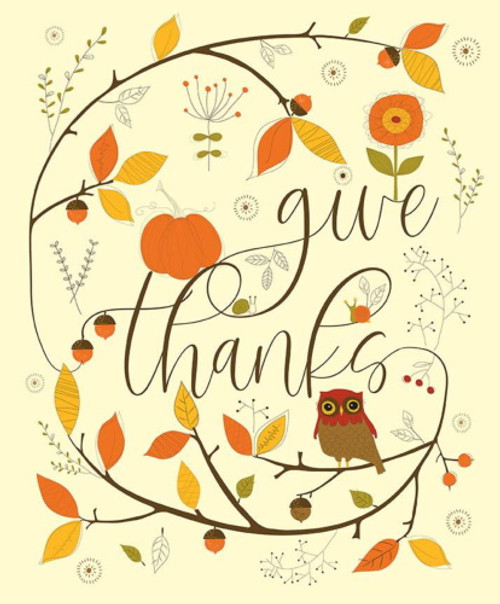 "GIVE THANKS ""OWL"" PANEL - 36"" X 43"" WOF"" - P9527-Cream"