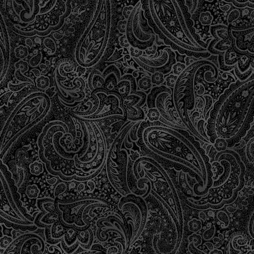 "BLACK AND GREY RADIANT PAISLEY 108"" WIDE BACKING - 9747WB-12"