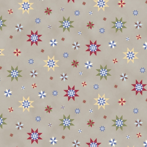 MULTI-COLORED STARS ON TAN FABRIC - 241 SEPIA-C