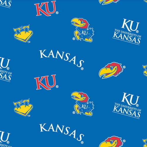 KANSAS UNIVERSITY TOSSED JAYHAWKS AND LOGOS FABRIC - KS-045
