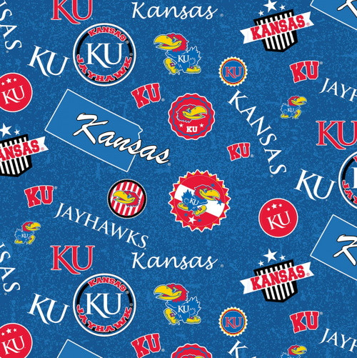 KANSAS UNIVERSITY LOGOS AND SHIELDS FABRIC - KS-1208