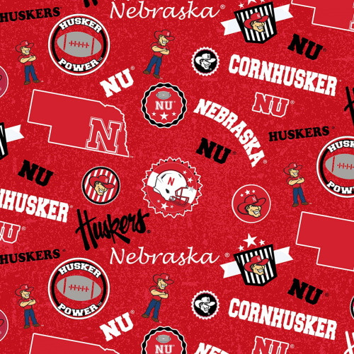 UNIVERSITY OF NEBRASKA LOGOS AND SHIELDS FABRIC - NE-1208