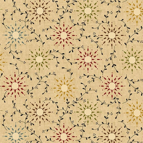 "MULTI-COLORED SUNBURSTS AND VINES ON TAN 108"" WIDE BACKING - 6235-44-C"