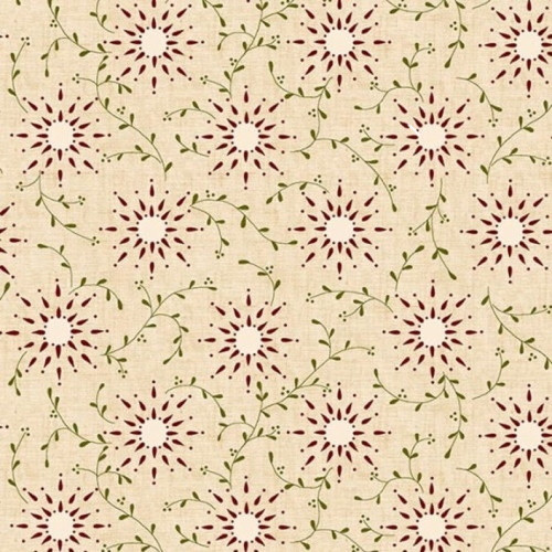 "DARK RED SUNBURSTS AND VINES ON NATURAL 108"" WIDE BACKING - 6235-40-C"