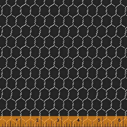 "WHITE ON BLACK CHICKEN WIRE 108"" WIDE BACKING - 52107-2"