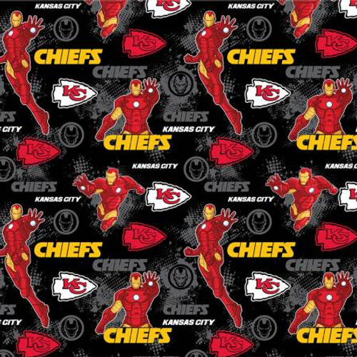 "KANSAS CITY CHIEFS/MARVEL MASH UP LICENSED FABRIC - 44/45"" Wide - 70397D-C"