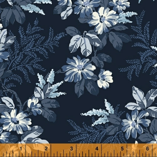 "LIGHT BLUE AND WHITE FLOWERS ON NAVY 108"" WIDE BACKING - 52036-1"