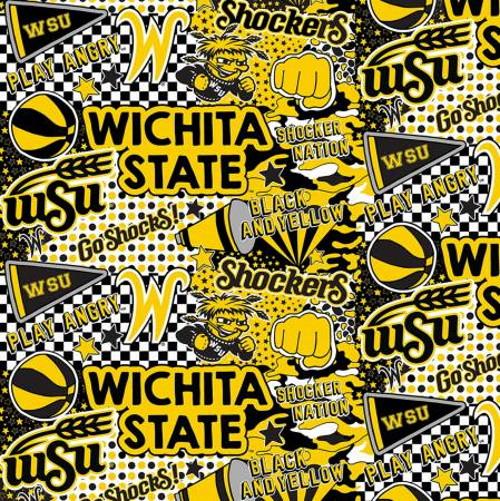 WICHITA STATE SHOCKERS POP ART COTTON FABRIC - WSU-1165-C