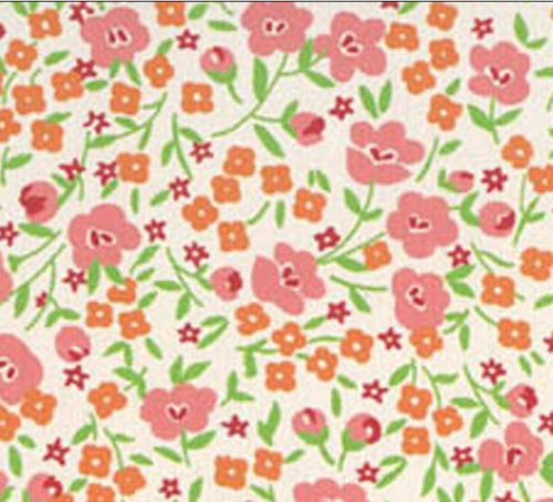 SMALL PINK, RED AND ORANGE FLORAL DESIGN ON WHITE