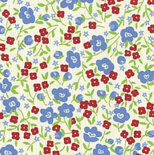 SMALL BLUE AND RED FLORAL DESIGN ON WHITE - 8264-07
