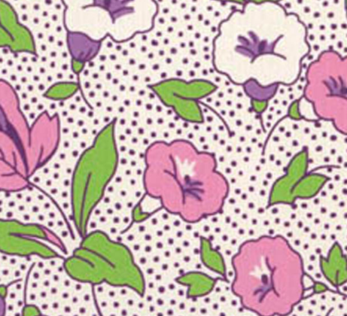 PINK, WHITE AND PURPLE FLORAL DESIGN ON WHITE - 8257-04