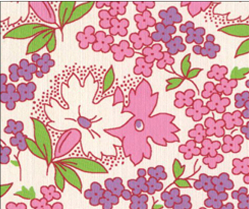 PINK, PURPLE AND WHITE FLORAL DESIGN ON WHITE - 8255-06