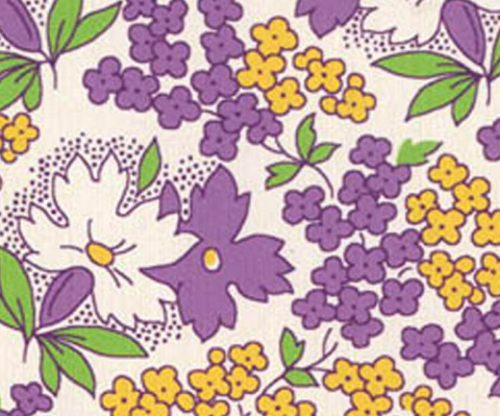 PURPLE, YELLOW AND WHITE FLORAL DESIGN ON WHITE - 8255-04