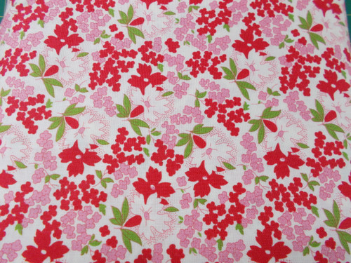LARGER RED, PINK AND WHITE FLORAL DESIGN ON WHITE - 8255-02