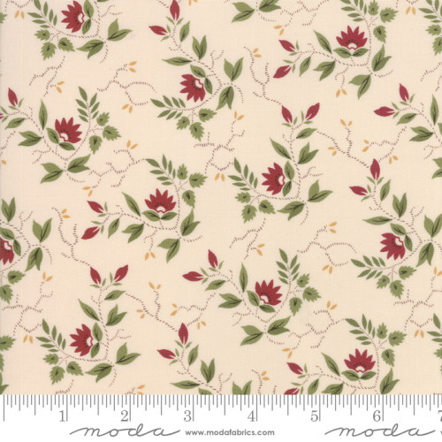RED AND GREEN FLORAL PATTERN ON CREAM FABRIC - 38093-13