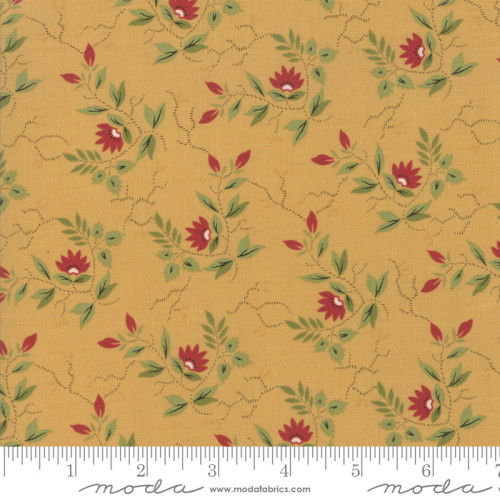 RED AND GREEN FLORAL PATTERN ON GOLD FABRIC - 38093-14