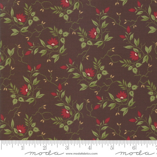 RED AND GREEN FLORAL PATTERN ON DARK BROWN FABRIC - 38093-16