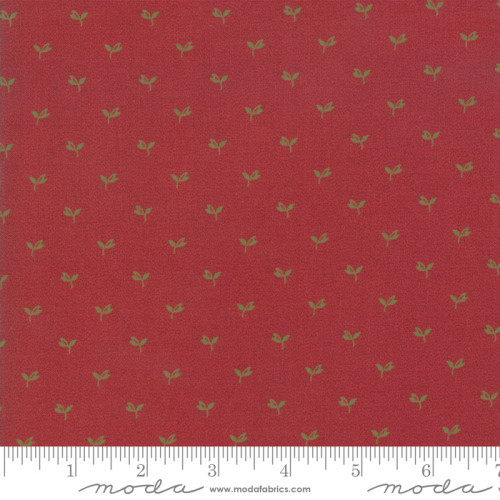 SMALL GREEN LEAVES ON TURKEY RED FABRIC - 38094-21