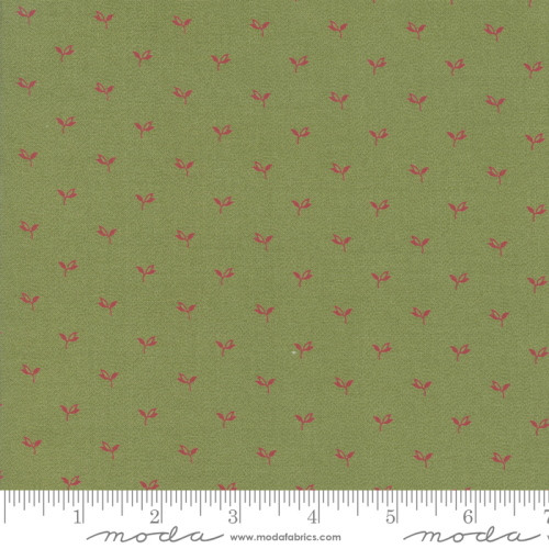 SMALL RED LEAVES ON POISON GREEN FABRIC - 38094-22