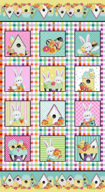 """EASTER FRAMES 24"""" REPEAT PANEL (12 FRAMES) ON MULTI-COLOR GINGHAM FABRIC - 2576P-22"""