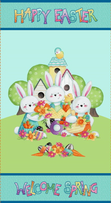 """HAPPY EASTER 24"""" X 43"""" (APPROX) FABRIC PANEL - 2578P-76"""