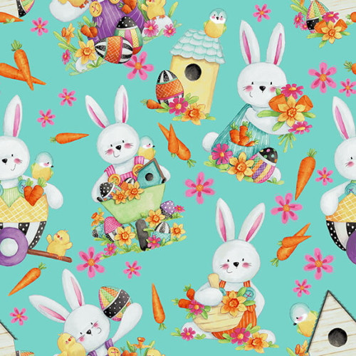 AQUA TOSSED BUNNIES FABRIC - 2575-76