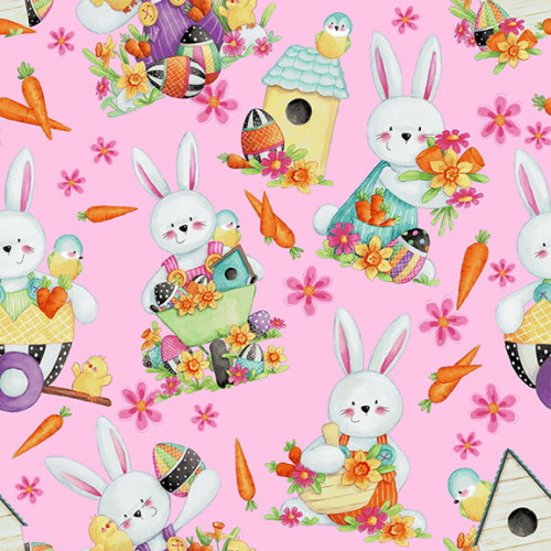 PINK TOSSED BUNNIES FABRIC - 2575-22