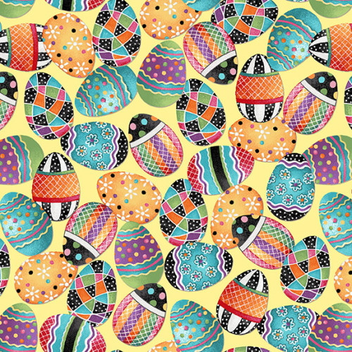 TOSSED EASTER EGGS ON YELLOW FABRIC - 2570-44