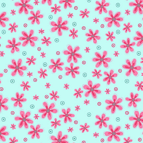 TOSSED SMALL PINK FLOWERS ON AQUA FABRIC - 2571-76
