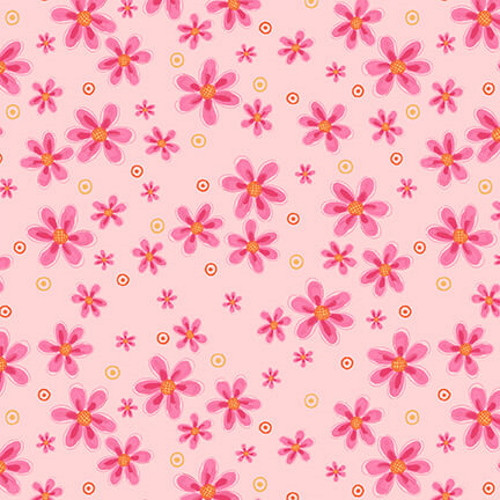 TOSSED SMALL PINK FLOWERS ON PINK FABRIC - 2571-22