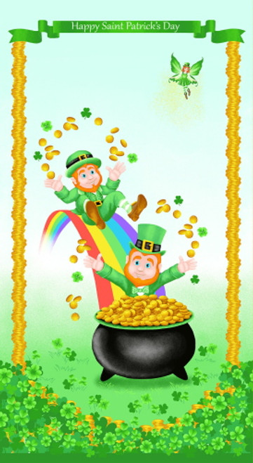 """SAINT PATRICK'S DAY POT OF GOLD 24"""" X 43"""" (APPROX) FABRIC PANEL - 9372P-64"""