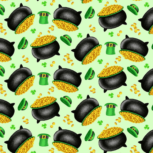 TOSSED POTS OF GOLD ON MINT FABRIC - 9367-69