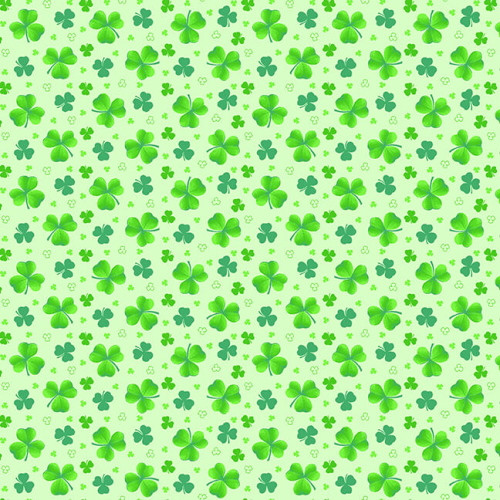TOSSED GREEN CLOVERS ON LIGHT GREEN FABRIC - 9368-66