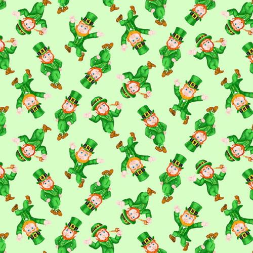 SMALL TOSSED LEPRECHAUNS ON LIGHT GREEN FABRIC - 9369-66