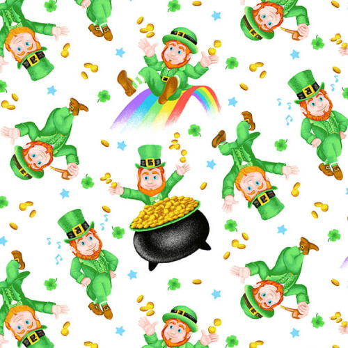 TOSSED LEPRECHAUNS WITH POTS OF GOLD/RAINBOWS ON WHITE FABRIC - 9365-16