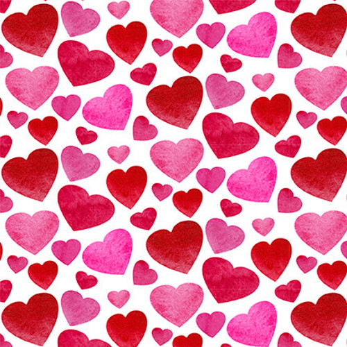 SMALL RED & PINK HEARTS ON WHITE FABRIC - 9437-8 Red/Pink/Wht