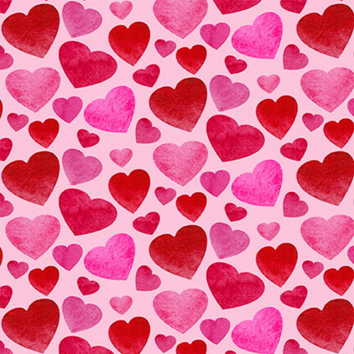 SMALL RED & PINK HEARTS ON PINK FABRIC - 9437-22 Pink/Red