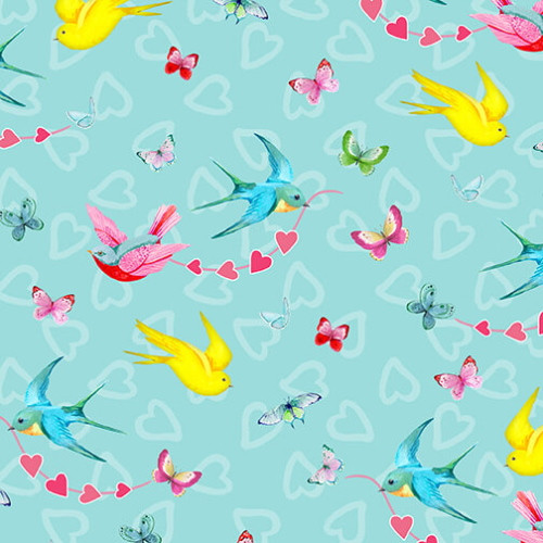 BIRDS AND BUTTERFLIES ON AQUA FABRIC - 9438-11 Aqua