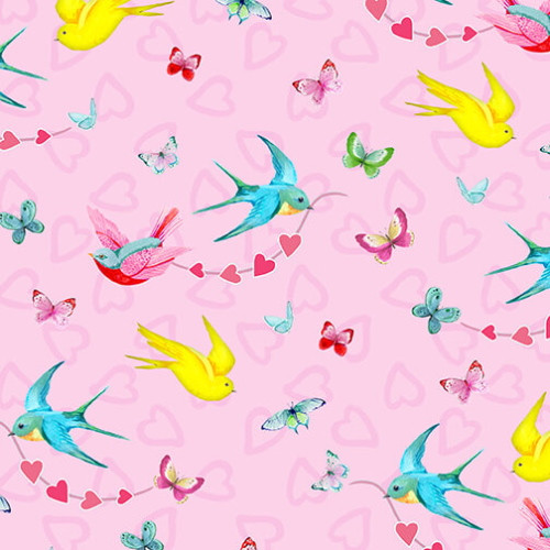 BIRDS AND BUTTERFLIES ON PINK FABRIC - 9438-22 Pink