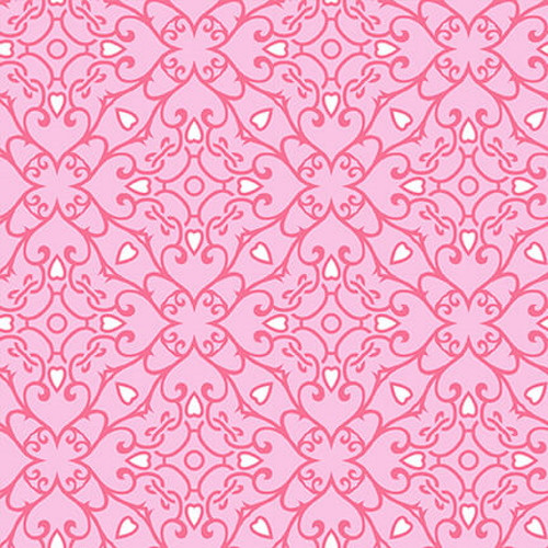 WHITE HEARTS AND DARK PINK GEOMETRIC DESIGN ON PINK FABRIC - 9440-22 Pink