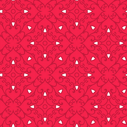 WHITE HEARTS AND DARK RED GEOMETRIC DESIGN ON RED FABRIC - 9440-88 Red