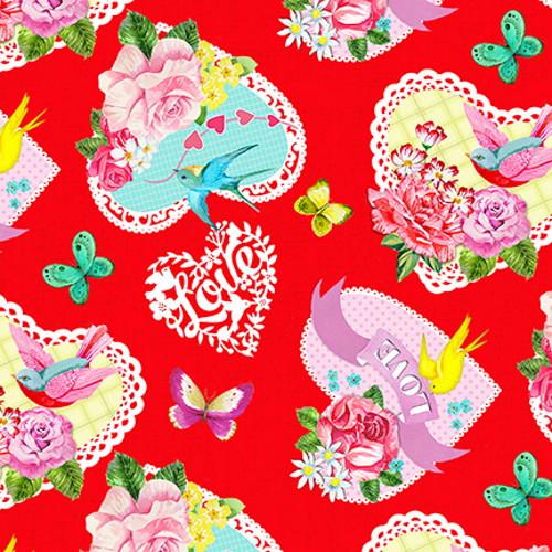 TOSSED LARGE HEARTS ON RED FABRIC - 9441-88 Red