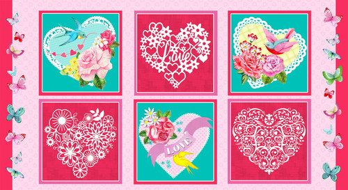 "6 SCENE HEART REPEAT - 24"" PANEL - 9435-22 Pink/Multi"