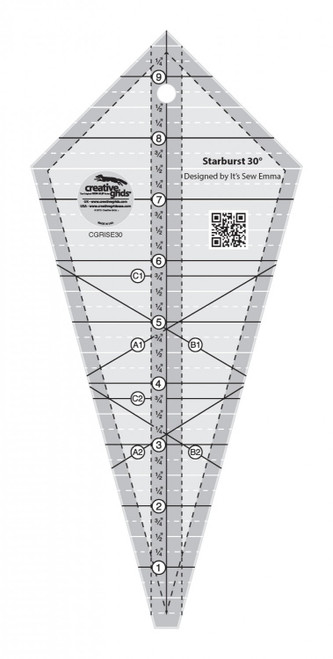 "9 1/2"" STARBURST 30 DEGREE TRIANGLE QUILT RULER - CGRISE30"