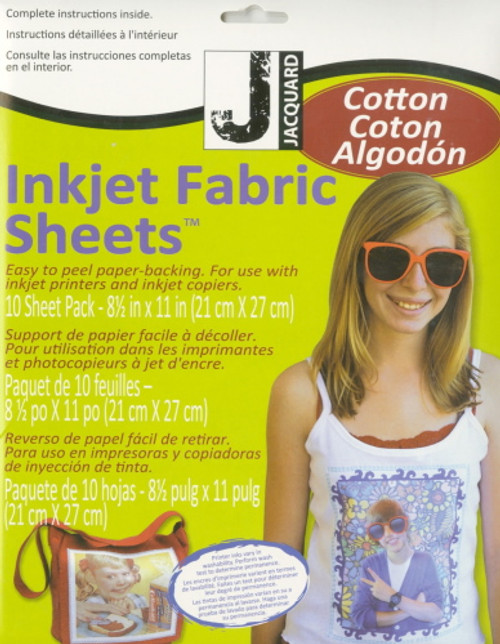 WHITE COTTON FABRIC SHEETS FOR INKJET PRINTER - 10 Count