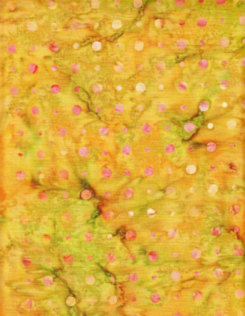 PINK DOTS ON GREEN, YELLOW & TAN HAND MADE BATIK FABRIC - BA 5200
