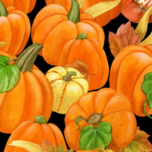 TOSSED PUMPKINS AND LEAVES ON BLACK - 1406-28076-987 - Harvest Time