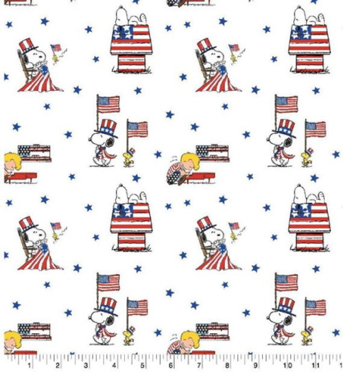 PATRIOTIC PEANUTS ON WHITE FABRIC - 69571-A620710 Multi